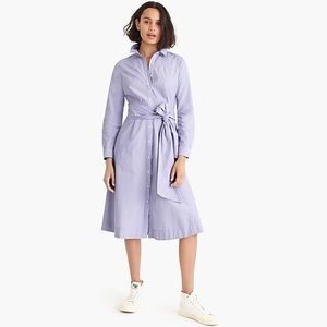 J. Crew Tie Waist Shirtdress in End to End Cotton